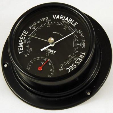 Baromètre thermomètre coloris noir