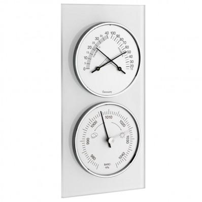Baromètre thermo-hygromètre sur fond en verre